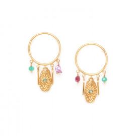 boucles d'oreilles poussoir anneau et pampilles Marta - Franck Herval