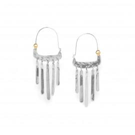 boucles d'oreilles grand crochet 5 pampilles métal argenté Bamako - Ori Tao