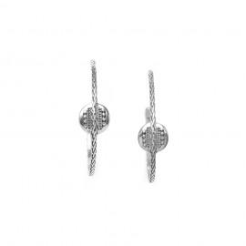 boucles d'oreilles créoles poussoir en métal argenté Cayenne - Ori Tao