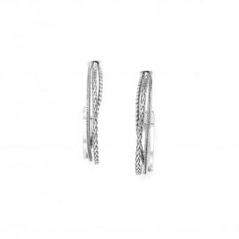 boucles d'oreilles créoles multirangs métal argenté Cayenne - Ori Tao