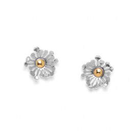 boucles d'oreilles poussoir bi-couleur Flower power - Ori Tao