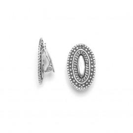 silver plated oval clips earrings Niamey - Ori Tao