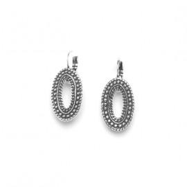 silver plated oval french hook earrings Niamey - Ori Tao