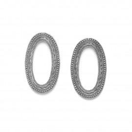 grandes boucles d'oreilles ovale poussoir métal argenté Niamey - Ori Tao