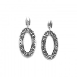 boucles d'oreilles gitane métal argenté Niamey - Ori Tao