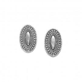 boucles d'oreilles ovale poussoir métal argenté Niamey - Ori Tao