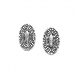 silver plated oval post earrings Niamey - Ori Tao