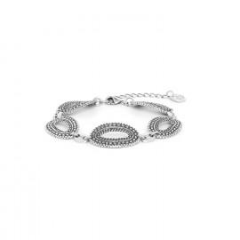 bracelet cing anneaux métal argenté Niamey - Ori Tao
