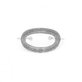 bracelet rigide grand ovale métal argenté Niamey - Ori Tao