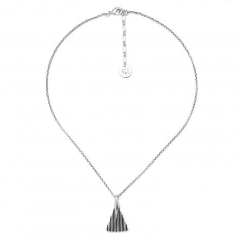 collier pendentif métal argenté Palmier