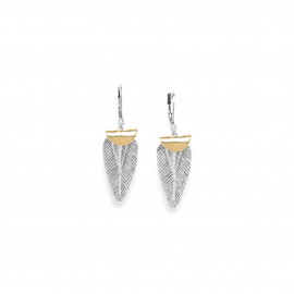 feather on hook earrings Silver feather - Ori Tao