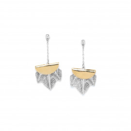3 pce feathers on chain earrings Silver feather - Ori Tao