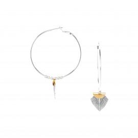 large creole earrings Silver feather - Ori Tao