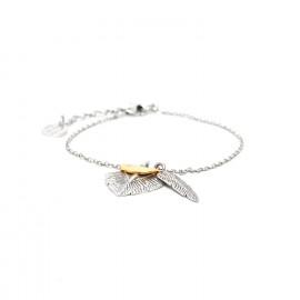 bracelet 2 plumes Silver feather - Ori Tao