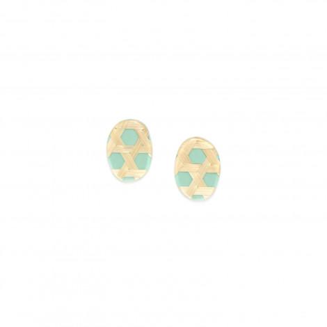 petites boucles d'oreilles turquoises Cannage