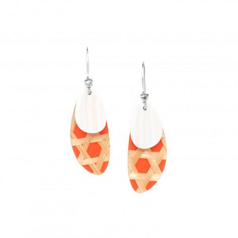 boucles d'oreilles mandarine avec nacre blanche Cannage