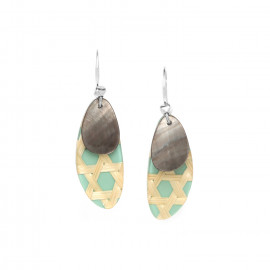 turquoise earrings with blacklip Cannage - Nature Bijoux