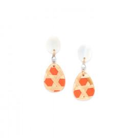 petites boucles d'oreilles mandarine top nacre Cannage - Nature Bijoux