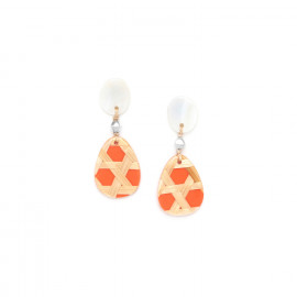 small tangerine earrings with mother of pearl top Cannage - Nature Bijoux
