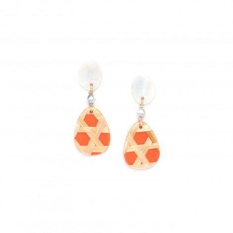 petites boucles d'oreilles mandarine top nacre Cannage
