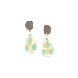 petites boucles d'oreilles turquoises top nacre noire Cannage - Nature Bijoux