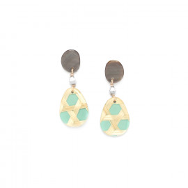 small turquoise earrings with blacklip top Cannage - Nature Bijoux