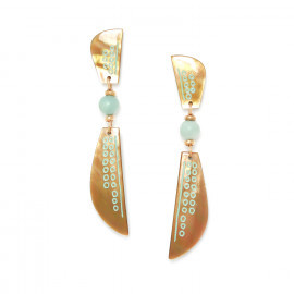 boucles d'oreilles 2 nacres brunes Celadon - Nature Bijoux