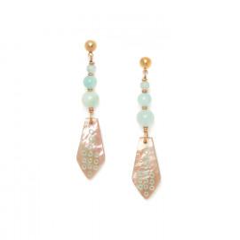 boucles d'oreilles 3 perles amazonite et nacre brune Celadon - Nature Bijoux