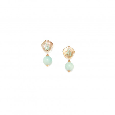 12mm amazonite bead earrings Celadon