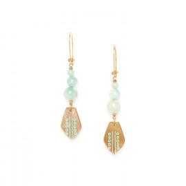 boucles d'oreilles 3 perles et nacre brune sur crochet Celadon - Nature Bijoux