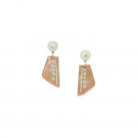 brownlip earrings with amazonite top Celadon - Nature Bijoux