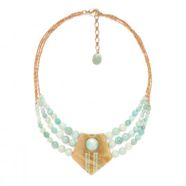 3 row large necklace Celadon - Nature Bijoux