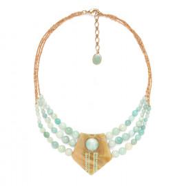 grand collier 3 rangs Celadon - Nature Bijoux