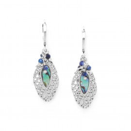 beaded creole earrings /silver Fittonia - Nature Bijoux