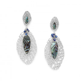 beaded leaf earrings /silver Fittonia - Nature Bijoux
