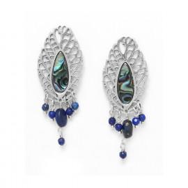 boucles d'oreilles feuille & pampilles lapis lazuli /argent Fittonia - Nature Bijoux