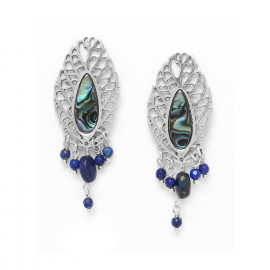 leaf & lapis lazuli dangle earrings /silver Fittonia - Nature Bijoux