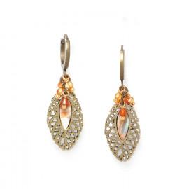 boucles d'oreilles créoles perles d'agate /bronze Fittonia - Nature Bijoux