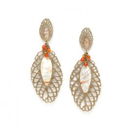 boucles d'oreilles deux feuilles & grappe d'agate /bronze Fittonia - Nature Bijoux