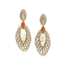 two leaf & agate grape earrings Fittonia - Nature Bijoux