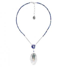 lapis lazuli necklace with leaf Fittonia - Nature Bijoux