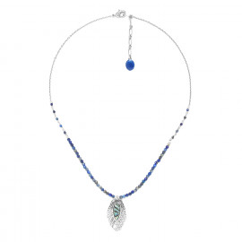 lapis lazuli necklace with small leaf Fittonia - Nature Bijoux