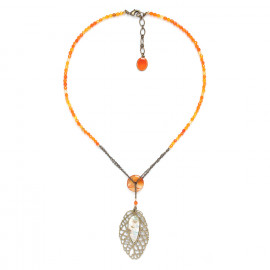 collier d'agate avec feuille Fittonia - Nature Bijoux