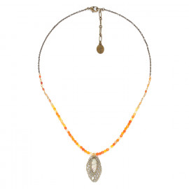 agate necklace with small leaf Fittonia - Nature Bijoux