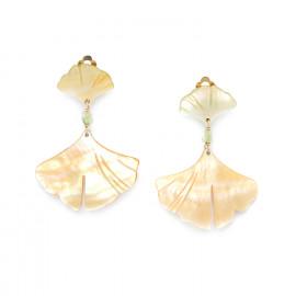 boucles d'oreilles clips 2 feuilles Ginkgo - Nature Bijoux