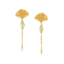 boucles d'oreilles péridot sur chaine Ginkgo - Nature Bijoux