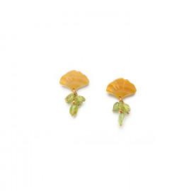 boucles d'oreilles grappe péridot top feuille Ginkgo - Nature Bijoux