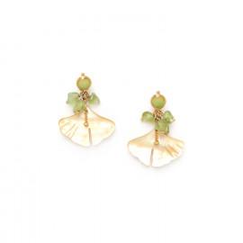 boucles d'oreilles grappe péridot / feuille nacre Ginkgo - Nature Bijoux