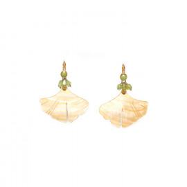 big mother of pearl leaf earrings Ginkgo - Nature Bijoux