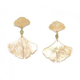 boucles d'oreilles 2 feuilles Ginkgo - Nature Bijoux